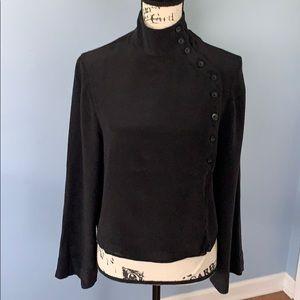 NEWPORT NEWS 100% silk black blouse SZ8